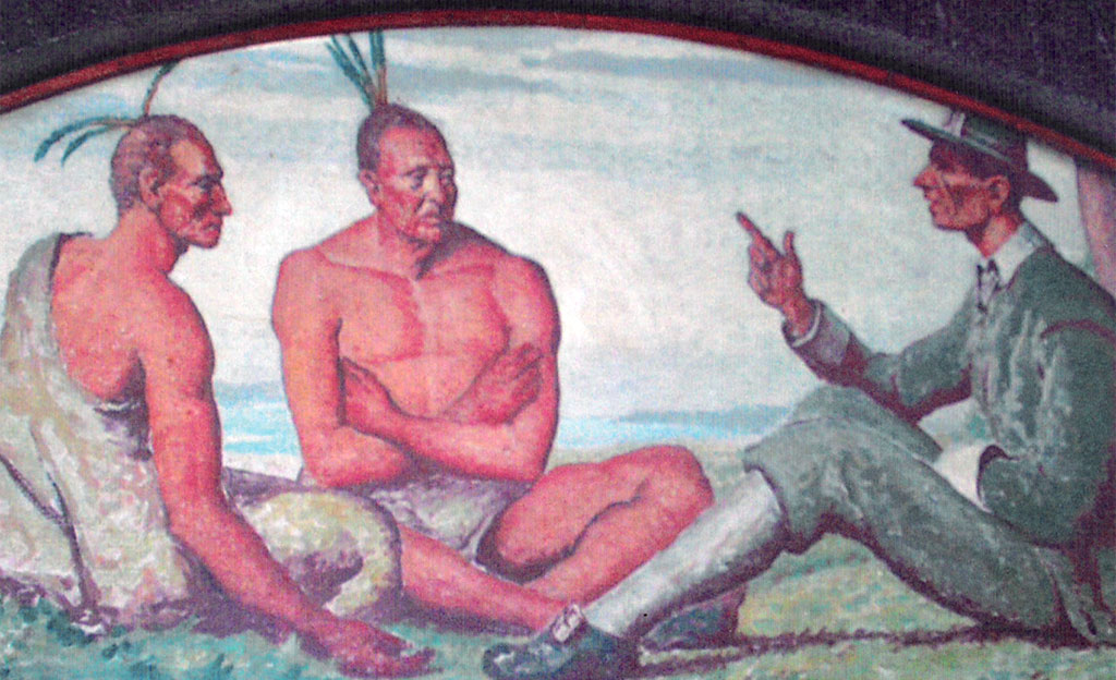 William Leverich discusses the treaty with the Indians, 1652 - WPA Mural at Oyster Bay, Long Island, New York Post Office